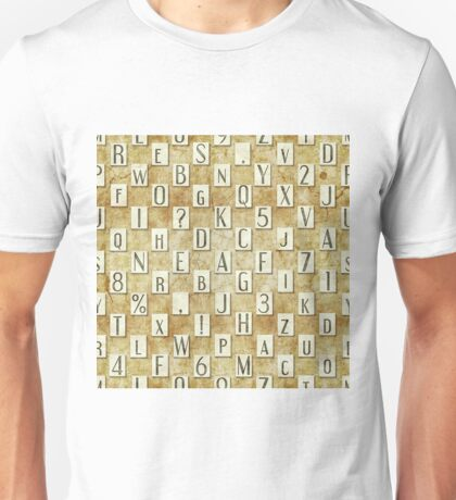 seamless background with letters .  Unisex T-Shirt