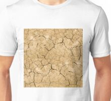 Clay soil with cracks without water. soil erosion Unisex T-Shirt