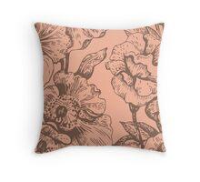 Big flower pattern, brown,peach,floral,flowers,modern,trendy Throw Pillow