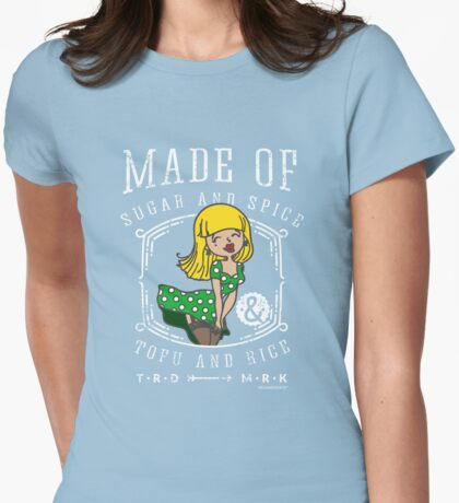 Pin-Up-Girl in Green Dress for Vegans and Vegetarians Womens Fitted T-Shirt