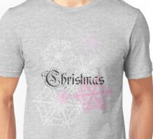 Christmas Script Snowflakes pink and red design classic Unisex T-Shirt