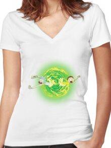 Rick and morty portal Women's Fitted V-Neck T-Shirt