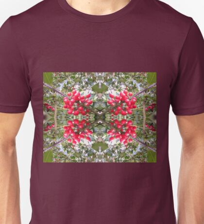 Holly Berry Photo Fractal 803 Unisex T-Shirt