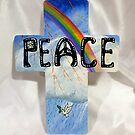 Wooden Peace Cross by WildestArt
