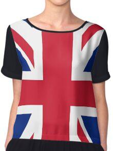 UK Union Jack flag - Authentic version (Duvet, Print on Blue background) Chiffon Top