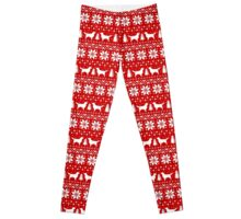 Golden Retriever Silhouettes Christmas Sweater Pattern Leggings