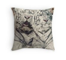Water Painted Tigers Throw Pillow