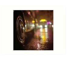 Cars in urban street on rainy night hasselblad medium format analog film photograph Art Print