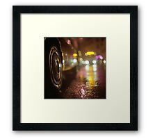 Cars in urban street on rainy night hasselblad medium format analog film photograph Framed Print