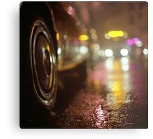 Cars in urban street on rainy night hasselblad medium format analog film photograph Metal Print
