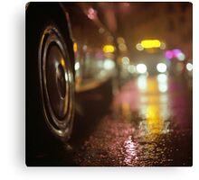 Cars in urban street on rainy night hasselblad medium format analog film photograph Canvas Print