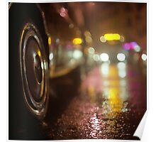 Cars in urban street on rainy night hasselblad medium format analog film photograph Poster