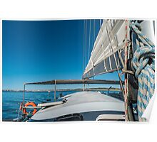 Sailing boat wide angle view in the sea Poster