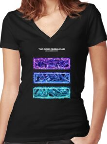 Gameshow White Text Women's Fitted V-Neck T-Shirt