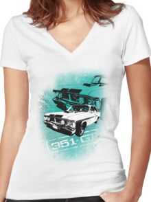 Ford Falcon XY GTHO Phase III (Grunge) © Women's Fitted V-Neck T-Shirt
