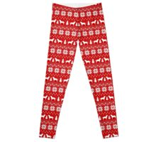 Labrador Retriever Silhouettes Christmas Sweater Pattern Leggings