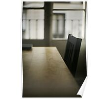 Wooden table desk and chair in empty room with window behind in beige brown colors artistic color digital photograph Poster
