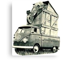Vintage Volkswagen Bus Single Cab Hauling Elephant Canvas Print
