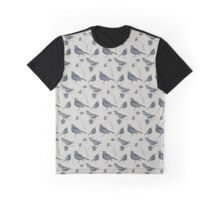 Birds and Daisies (drawing, blue on grey) Graphic T-Shirt
