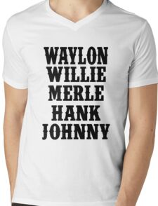 Waylon Jennings Merle Haggard Willie Nelson Hank Williams Johnny black Mens V-Neck T-Shirt