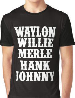 Waylon Jennings Merle Haggard Willie Nelson Hank Williams Johnny white Graphic T-Shirt