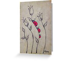 Lady Bugs on Tulips Greeting Card