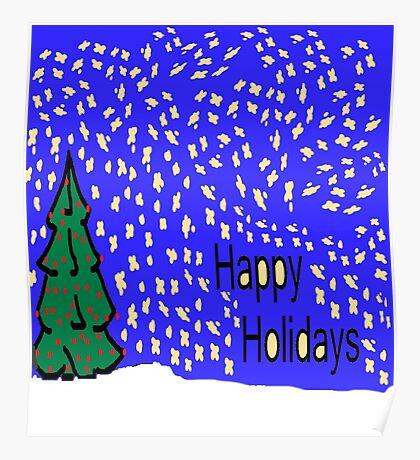 Christmas tree scene with stars and snow XMAS16   Poster