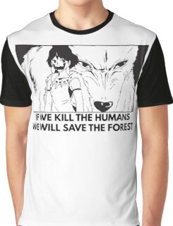Studio Ghibli - Princess Mononoke Kill Humans, Save the Forest Graphic T-Shirt