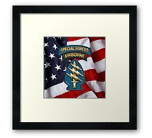 U.S. Army Special Forces - Green Berets SSI over American Flag Framed Print