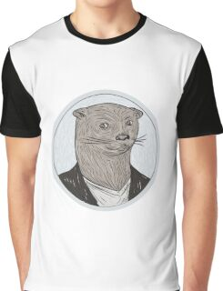Otter Head Blazer Shirt Oval Drawing Graphic T-Shirt