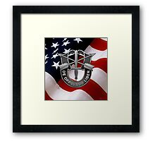 U.S. Army Special Forces - Green Berets DUI over American Flag Framed Print