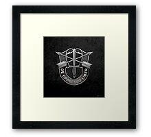U.S. Army Special Forces - Green Berets DUI over Black Velvet Framed Print