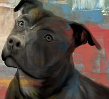 Pit Bull Piglet in Paint by pitbullhill