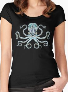 Sugar Skull Octopus Women's Fitted Scoop T-Shirt