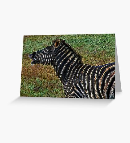 Snorting Zebra - Coloured Pencil Greeting Card