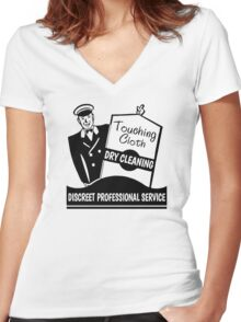 Touching Cloth Dry Cleaning Women's Fitted V-Neck T-Shirt