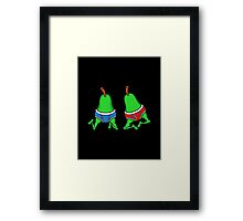 Gay Pride Funny Happy Jumping Pears Framed Print