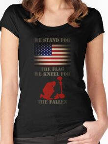 We stand for the flag We kneel for the fallen Women's Fitted Scoop T-Shirt
