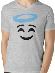 Emoji with Angel Halo Mens V-Neck T-Shirt