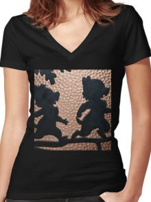 silhouette chip dale chipmunks Women's Fitted V-Neck T-Shirt