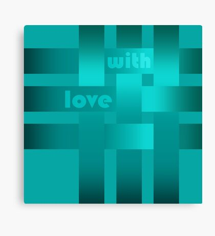 A satin ribbon .Turquoise background . With love. Canvas Print