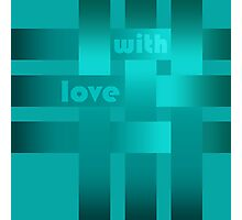 A satin ribbon .Turquoise background . With love. Photographic Print