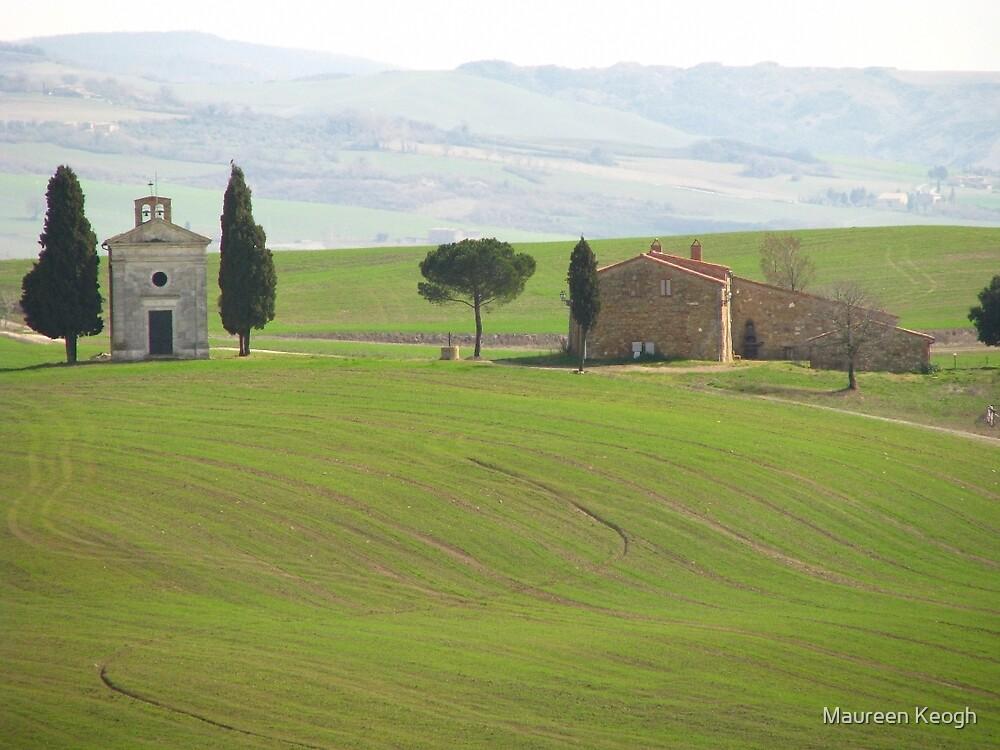 Pienza - Church on a Tuscan hillside by Maureen Keogh