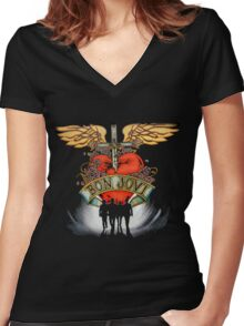 Bon Jovi World Tour Women's Fitted V-Neck T-Shirt