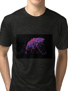 Watercolor painting of umbrella and water splashes Tri-blend T-Shirt