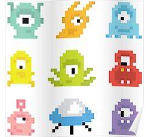 Pixel UFO aliens Poster