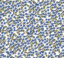 Watercolor Blue berries, branches pattern,ornament by Tatiakost