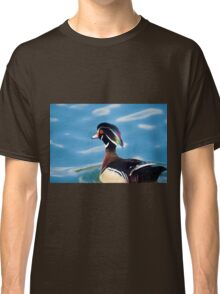 colourful male wood duck in a pond   Classic T-Shirt