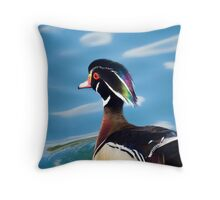 colourful male wood duck in a pond   Throw Pillow