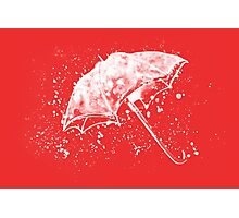 Watercolor painting of umbrella and water splashes Photographic Print